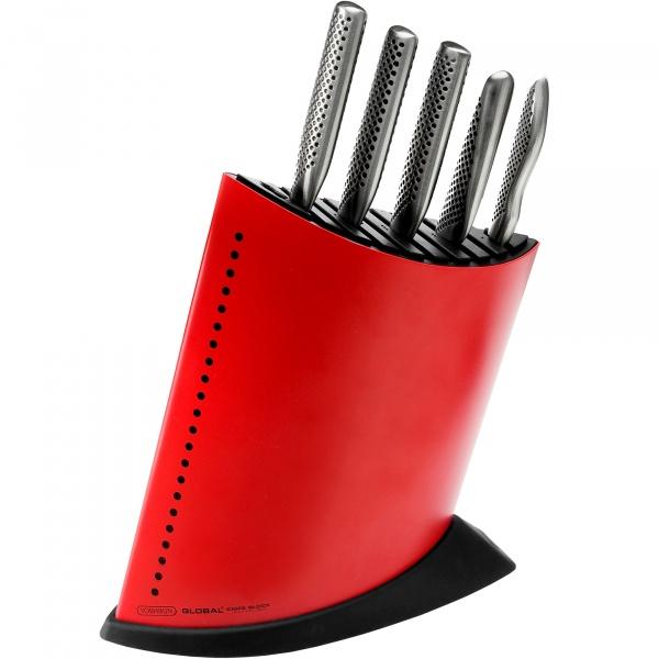 Komplet 5 noży w czerwonym bloku GKB-52CR Global HK-GKB52CR-SET5