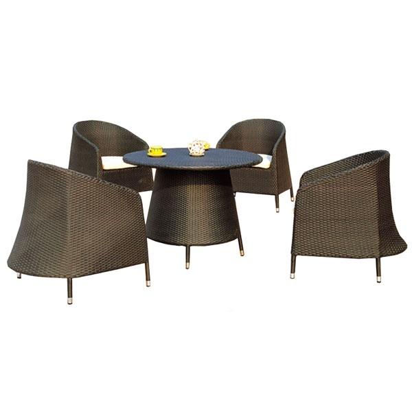 Komplet mebli ogrodowych - 4 fotele z technorattanu z poduszkami i stół AKbud wenge-beż LN-081