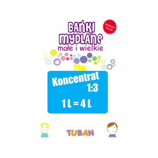 Koncentrat płynu do baniek mydlanych 1 litr = 4 litry Tuban 5907731336321