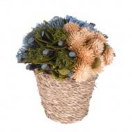 Koszyk ozdobny niebieskie kwiaty 15x15x17 cm