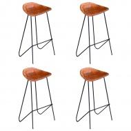 Krzesła barowe, 4 szt., prawdziwa skóra, brązowe