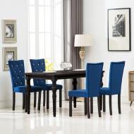 Krzesła do jadalni, 4 szt., aksamitne, granatowe