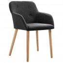Krzesła do salonu 4 szt. ciemnoszare tkanina i lity dąb