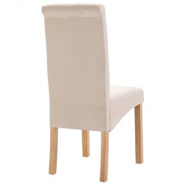 Krzesła do jadalni, 4 szt., kremowe, tapicerowane tkaniną