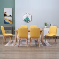 Krzesła do jadalni, 6 szt., żółte, tkanina