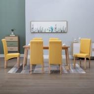 Krzesła jadalniane, 6 szt., żółte, tkanina