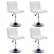 Krzesła obrotowe, 4 szt., sztuczna skóra, 50x43x85 cm, białe