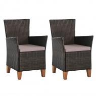 Krzesła ogrodowe z poduszkami, 2 szt., polirattan, brązowe