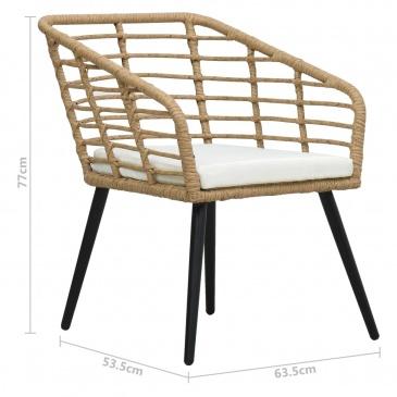Krzesła ogrodowe z poduszkami, 2 szt., polirattan, kolor dębowy