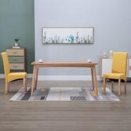 Krzesła stołowe, 2 szt., żółte, tapicerowane tkaniną