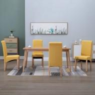 Krzesła stołowe, 4 szt., żółte, tapicerowane tkaniną
