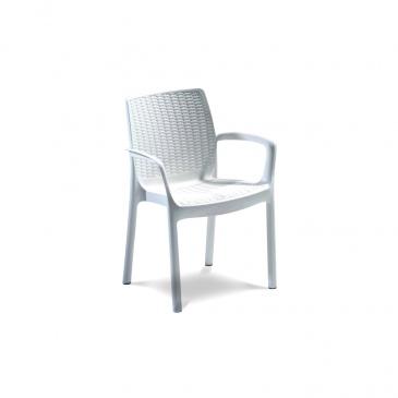 Krzesło Ogrodowe Sztaplowane 52x60x83cm Bazkar Bali Mono Białe