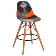 Krzesło barowe P016W Patchwork D2 wielokolorowe
