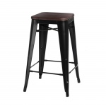 Krzesło barowe Paris Wood D2 75cm czarne/sosna orzech