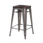 Krzesło barowe Paris Wood D2 75cm metaliczne/sosna orzech