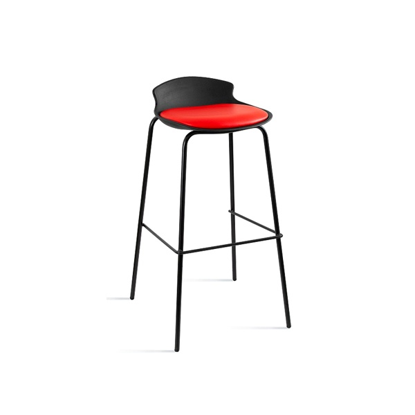 Krzesło barowe Unique Duke czarno-czerwone 7-87A-4-2