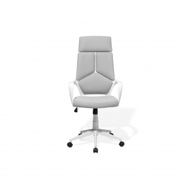 Krzesło biurowe biało szare regulowana wysokość DELIGHT