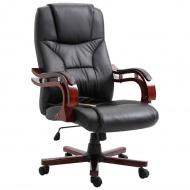 Krzesło biurowe, czarne, sztuczna skóra