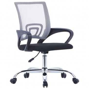 Krzesło biurowe z siatkowym oparciem, szare, tkanina