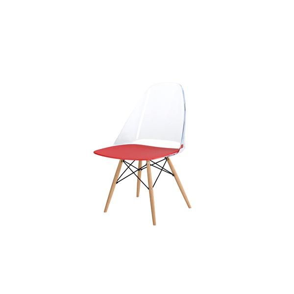 Krzesło D2 Aero czerwono-przezroczyste DK-42109