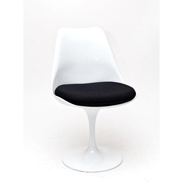 Krzesło D2 Tul białe/czarna poduszka DK-63554