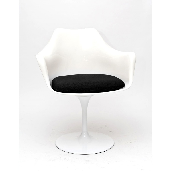 Krzesło D2 TulAr białe/czarna poduszka DK-63559