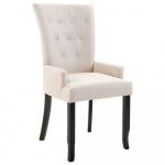 Krzesło do jadalni z podłokietnikami beżowe materiałowe