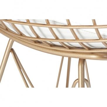 Krzesło DSR NET ROSE GOLD różowe złoto - biała poduszka, metal