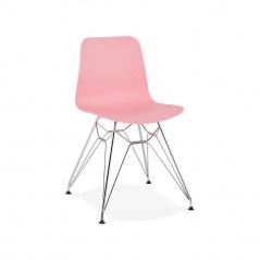 Krzesło Kokoon Design Fifi różowe nogi srebrne