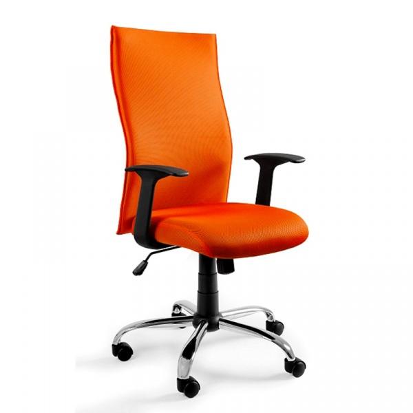 Krzesło obrotowe UNIQUE Black on Black pomarańczowe W-93a-5