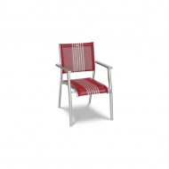 Krzesło ogrodowe 50x88cm Acatop Acamp platyna/czerwone pasy