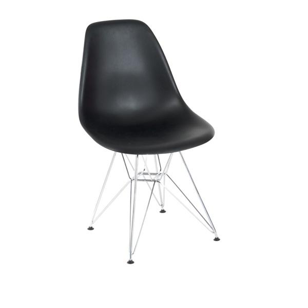 Krzesło P016 PP czarne, chromowane nogi DK-24201