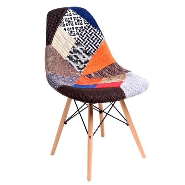 Krzesło P016W patch work, drewniane nogi DK-22698