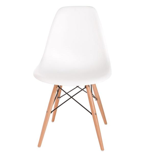 Krzesło P016W PP białe, drewniane nogi DK-24237