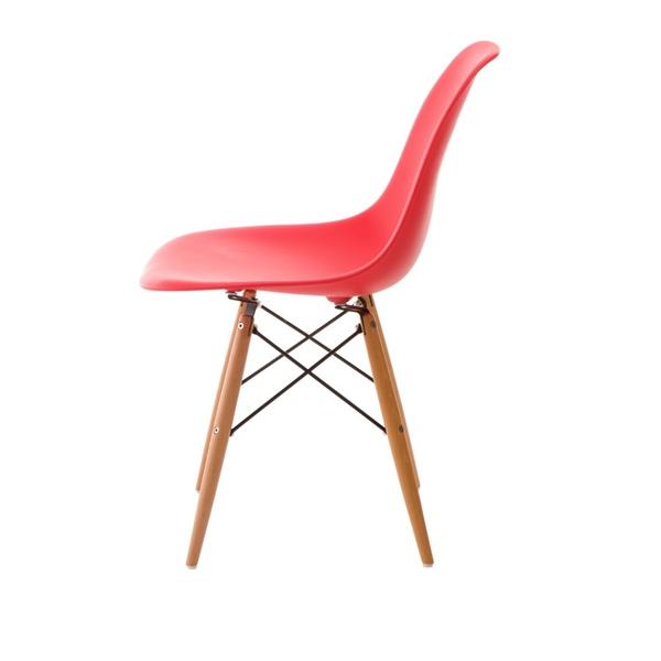 Krzesło P016W PP czerwone,drewniane nogi 5902385707350
