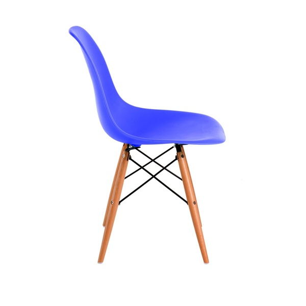 Krzesło P016W PP niebieskie, drewniane nogi DK-25161