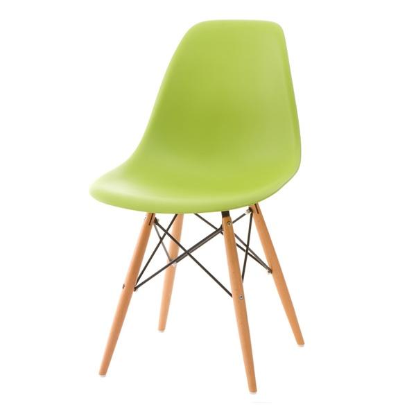 Krzesło P016W PP zielone, drewniane nogi DK-24267