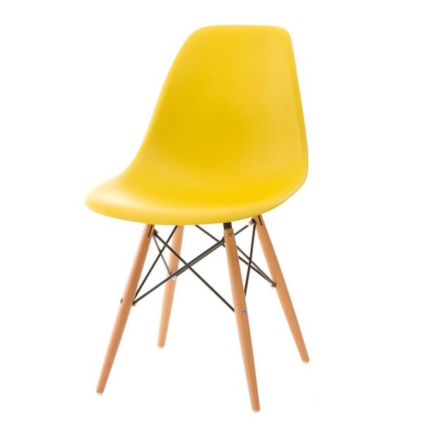 Krzesło P016W PP żółte, drewniane nogi 5902385712118