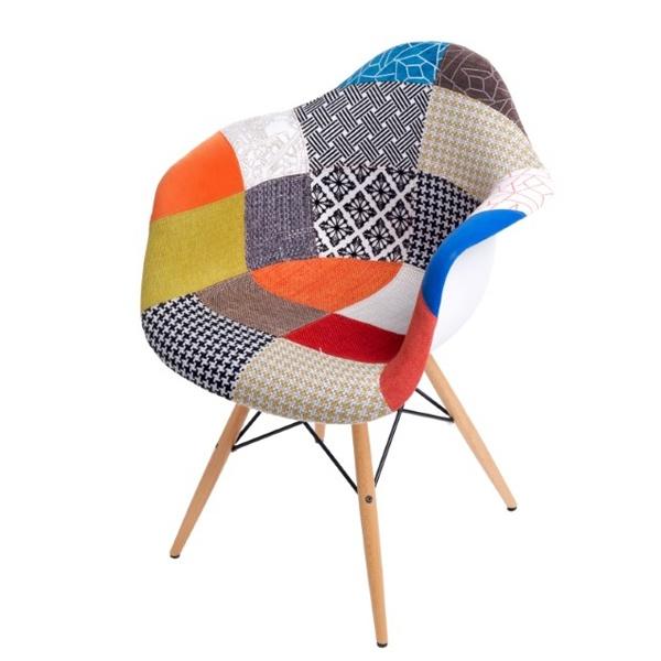 Krzesło P018 patch work, drewniane nogi DK-22695