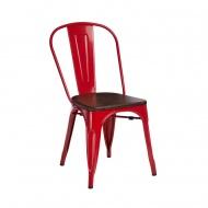 Krzesło Paris Wood D2 czerwone/sosna orzech