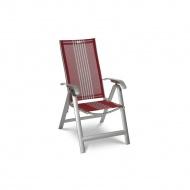 Krzesło składane Acatop Acamp 115x47cm platyna/czerwone pasy