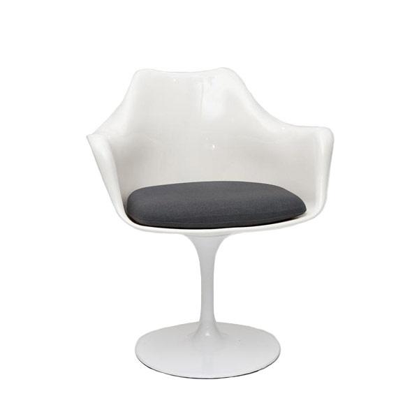 Krzesło TulAr biały/szara poduszka 5902385706940