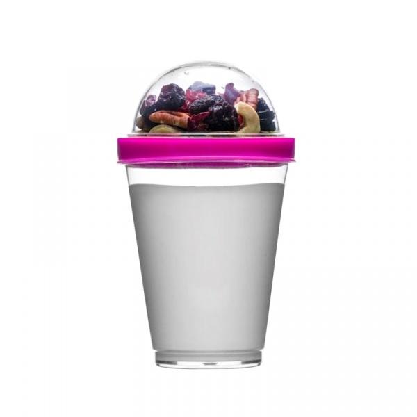Kubek do jogurtu z pojemnikiem na musli 0,3 l Sagaform Fresh różowy SF-5017122