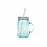 Kubek do zimnych napojów ze słomką 0,47 l Aladdin Mason błękitny