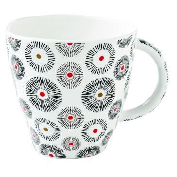 Kubek porcelanowy 375 ml Nuova R2S Organic małe wzory czerwony