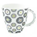 Kubek porcelanowy 375 ml Nuova R2S Organic małe wzory żółty