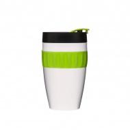 Kubek termiczny plastikowy 0,4 l Sagaform Cafe biało-czarno-zielony