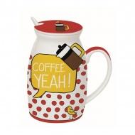 Kubek z łyżeczką i przykrywką Coffee Yeah Nuova R2S Have Fun Coffe Yeah!