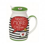Kubek z łyżeczką i przykrywką Need More Tea Nuova R2S Have Fun Need more coffe