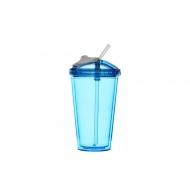 Kubek z pokrywką i słomką 450 ml Sagaform Fresh niebieski